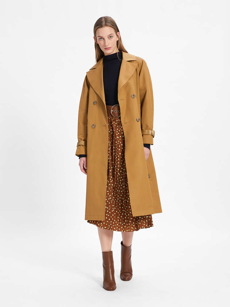 Water-repellent twill trench coat
