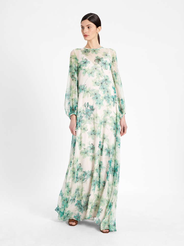 Pure printed silk georgette dress