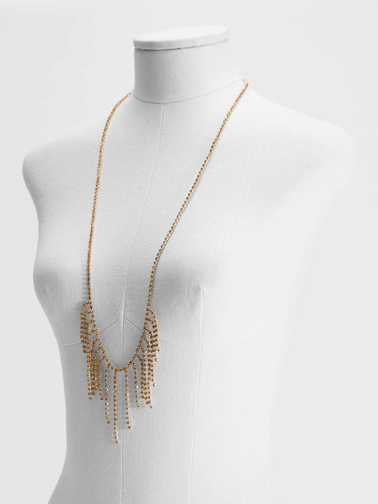 Rhinestone and metal long necklace