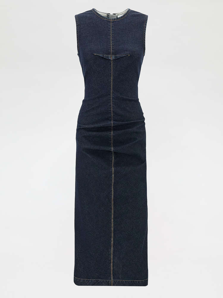 Stretch denim sheath dress