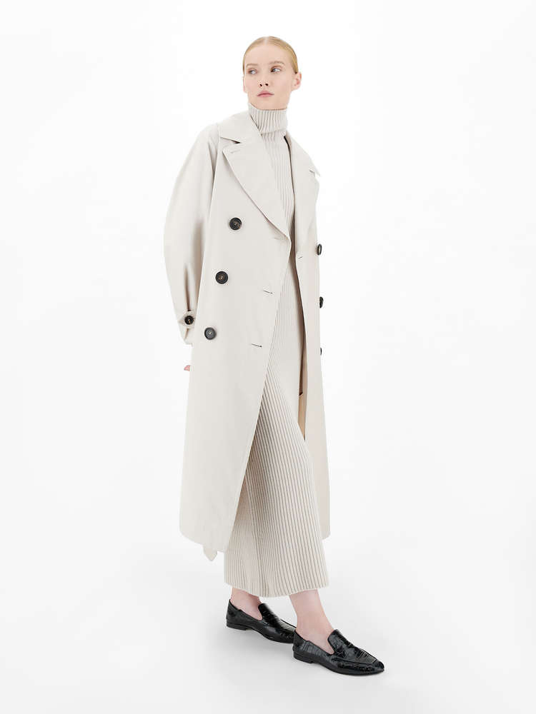 Water-repellent gabardine trench coat