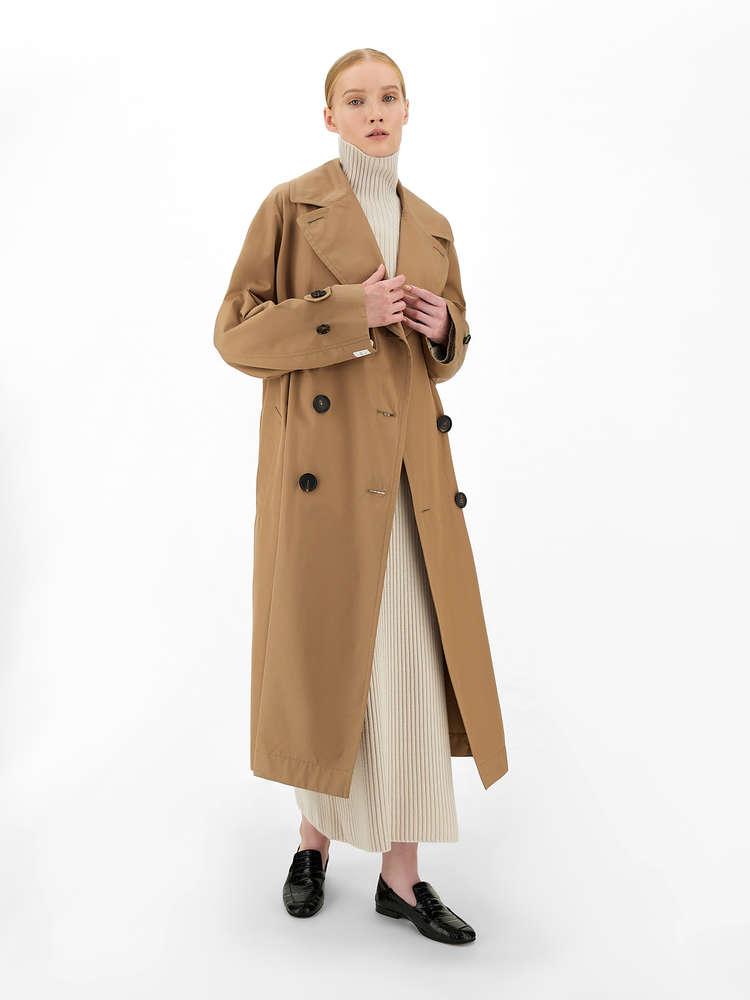 Water-repellent gabardine trench coat