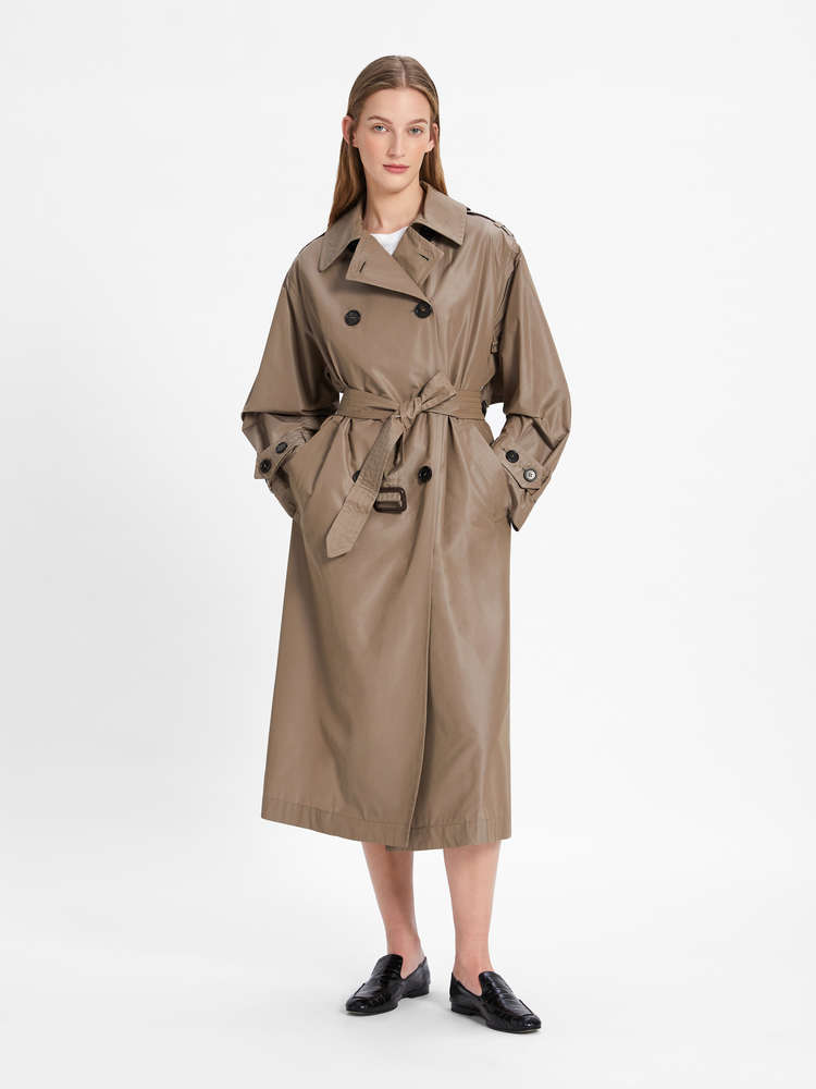 Water-repellent trench coat in technical cotton taffeta fabric