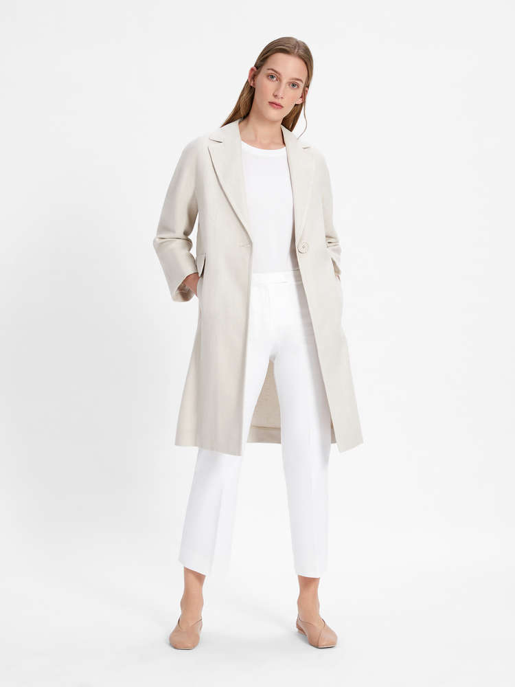 Linen and cotton basketweave duster coat