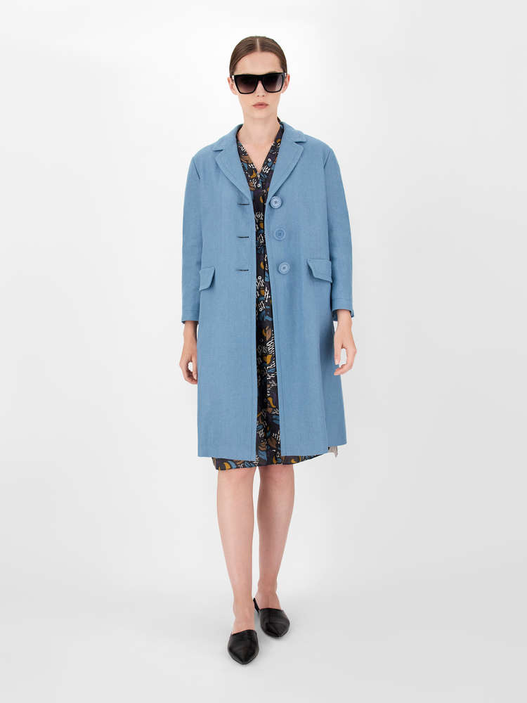 Linen and cotton basketweave duster coat