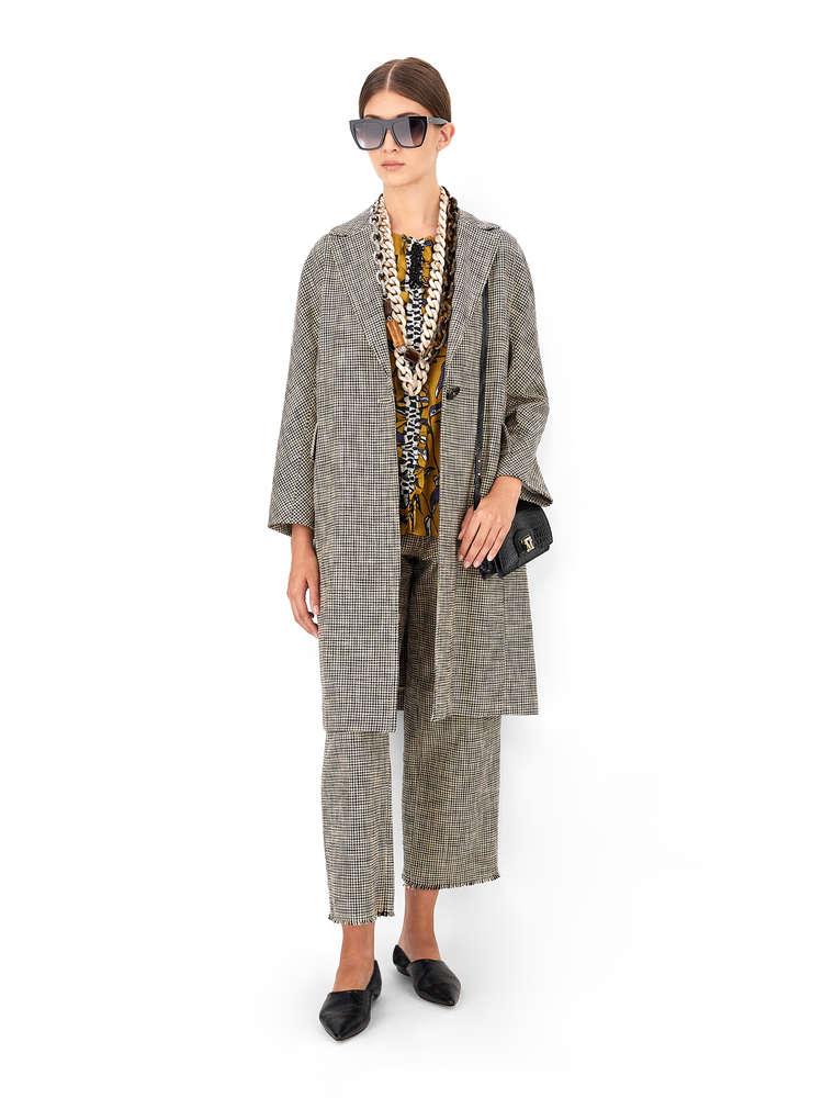 Cotton basketweave duster coat