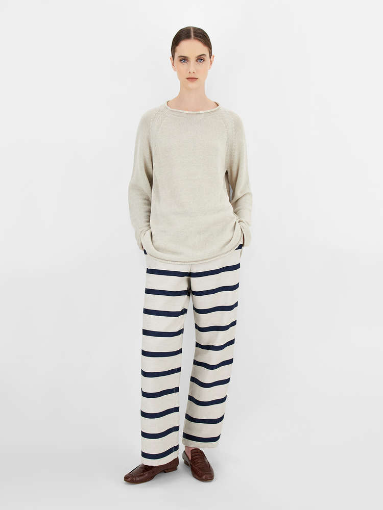 Linen knit pullover