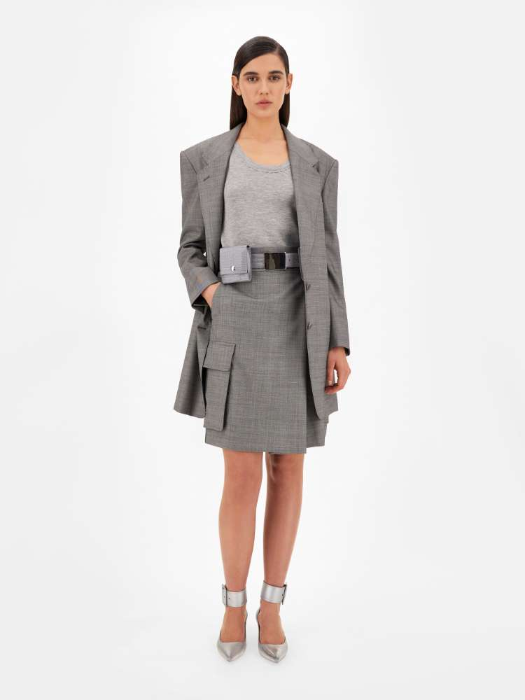Grisaille wool skirt