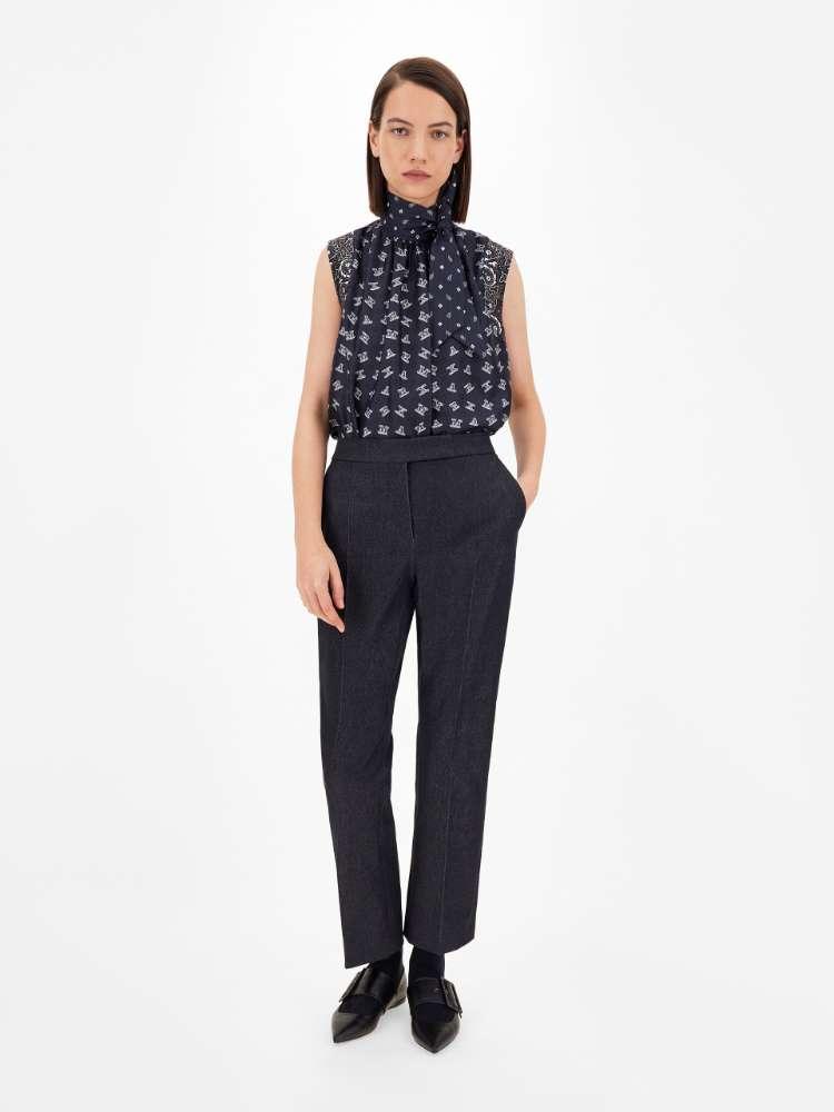 Denim-effect cotton trousers