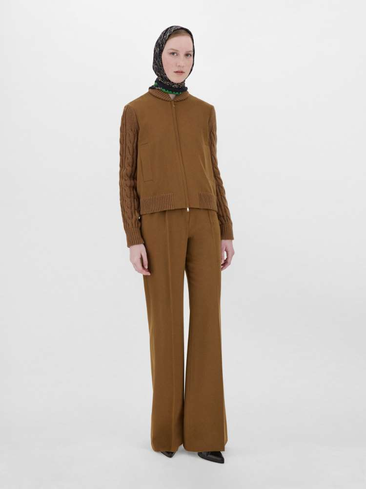 Camel, wool and cashmere bomber jacket