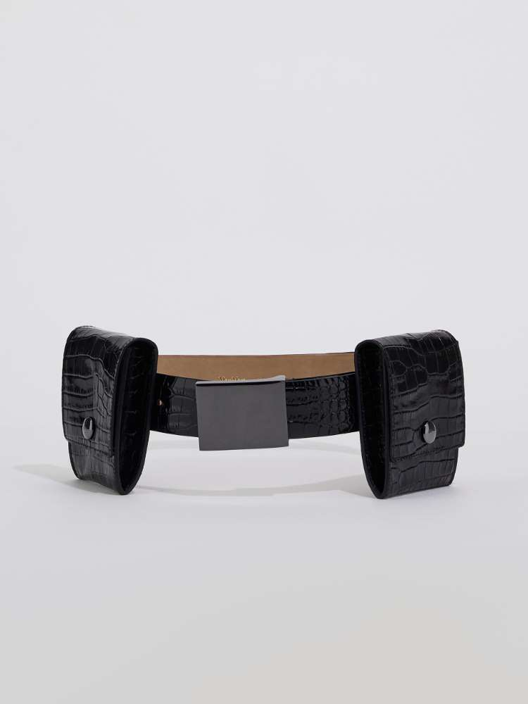 Crocodile-print leather belt