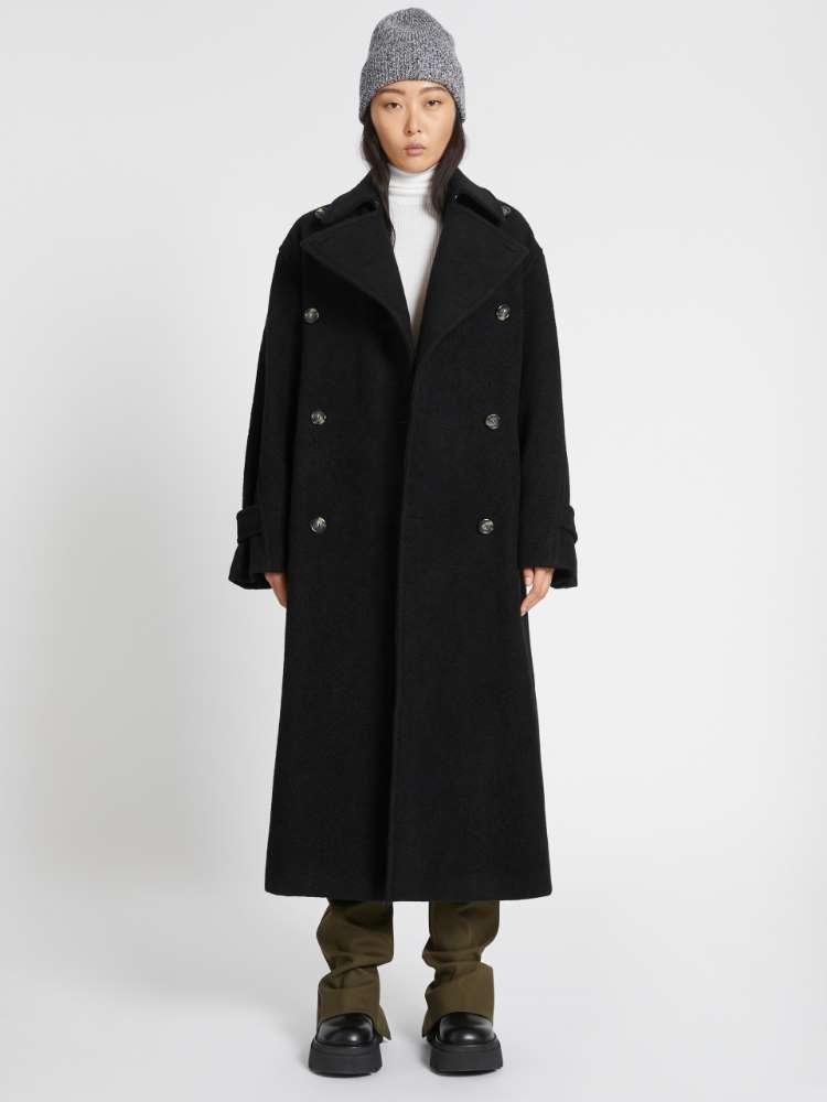 Manteau surdimensionné en laine de peau d'agneau