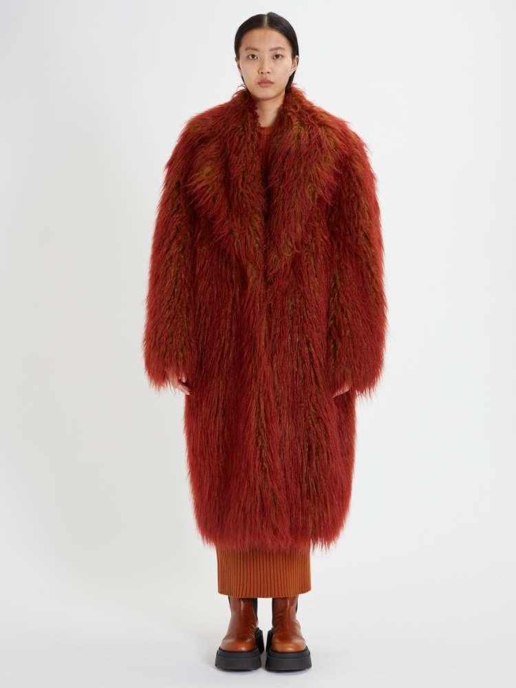 Manteau à simple boutonnage à poils longs