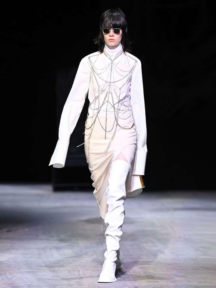 Jupe droite en laine mélangée stretch