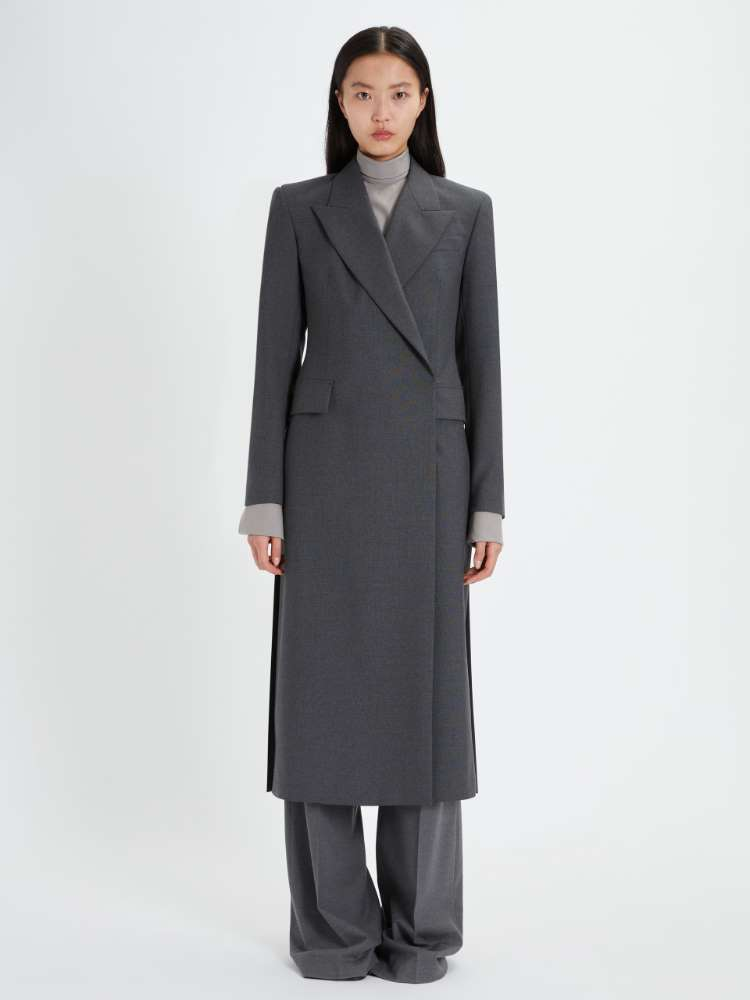 Double-breasted duster coat