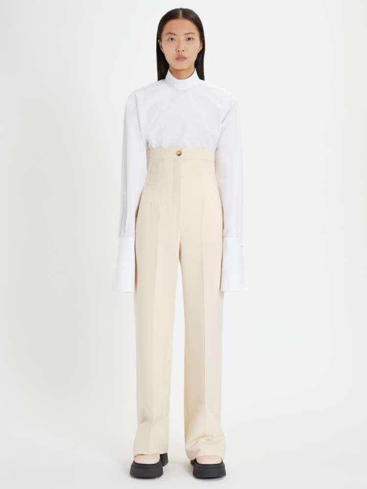 Pantalon palazzo en laine stretch