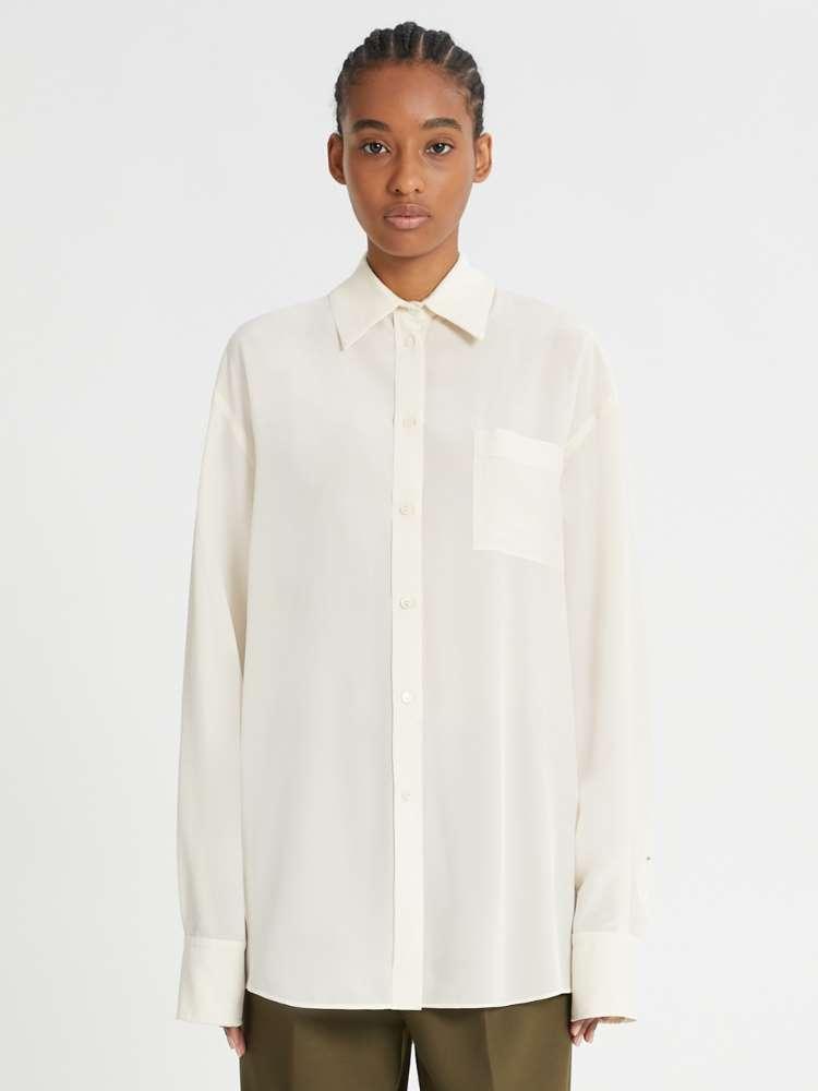Silk crepe long shirt