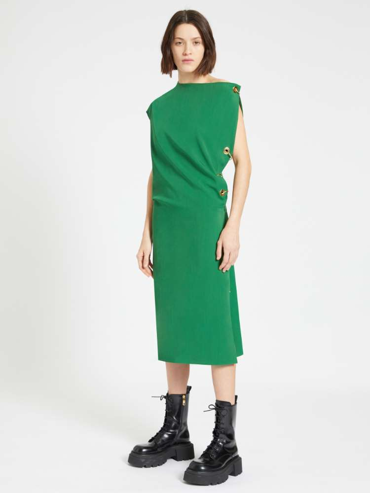 Sleeveless dress with eyelet and piercing detail