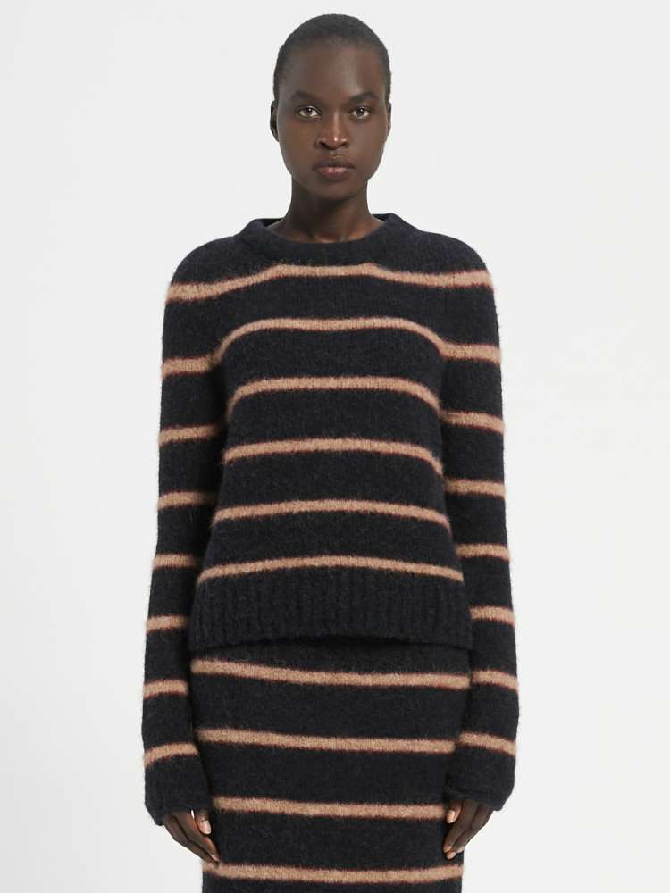 Felted-look crew-neck sweater