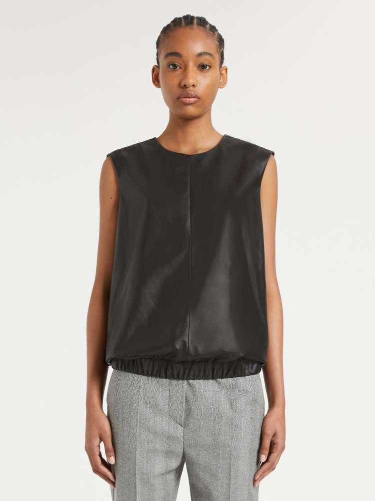 Sleeveless Nappa leather top