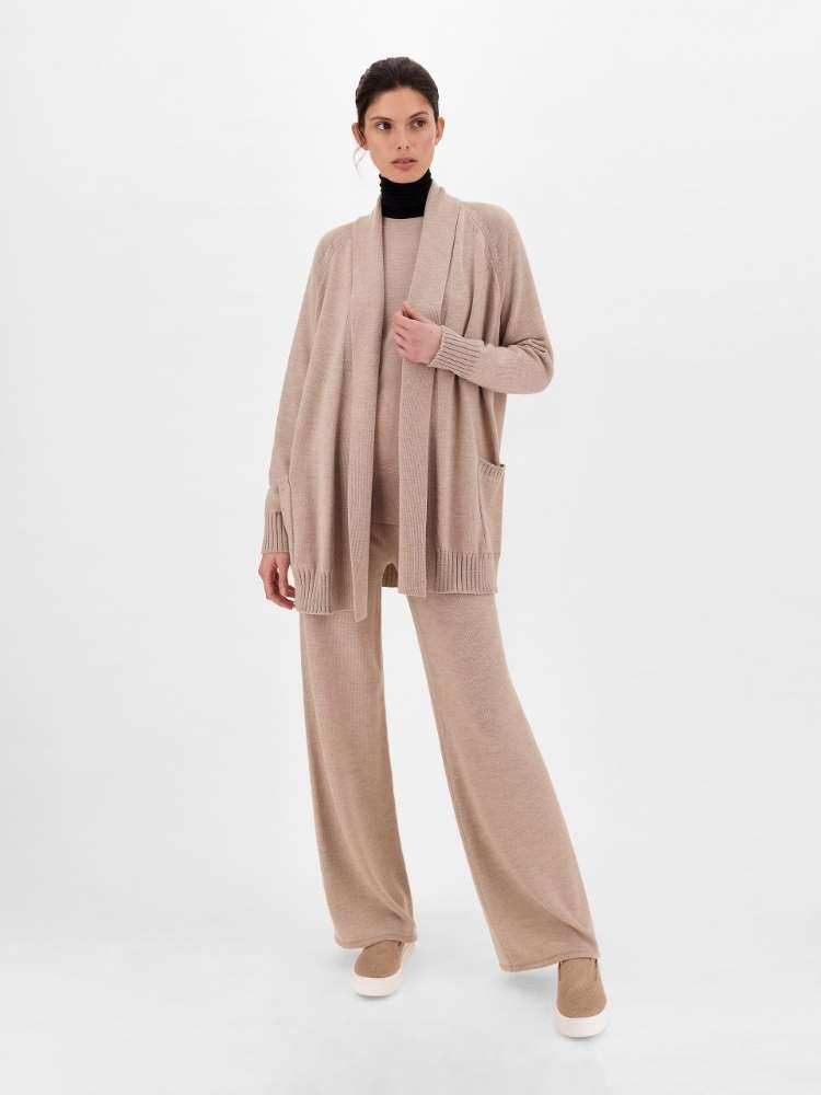 Wool knit trousers