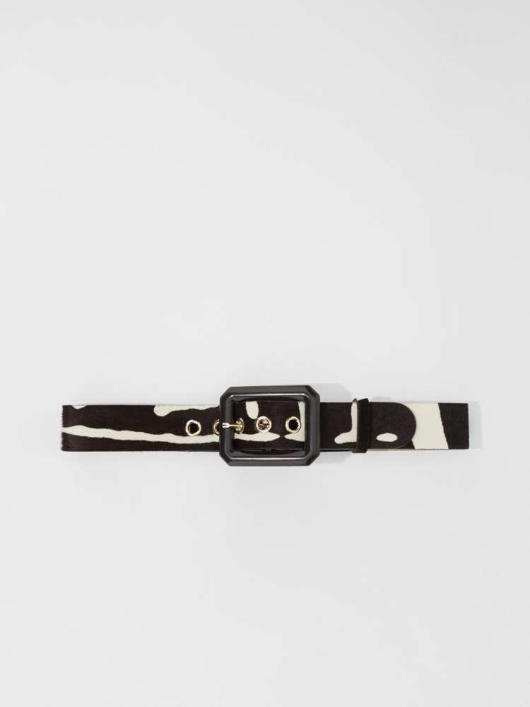 Ponyskin-effect leather belt