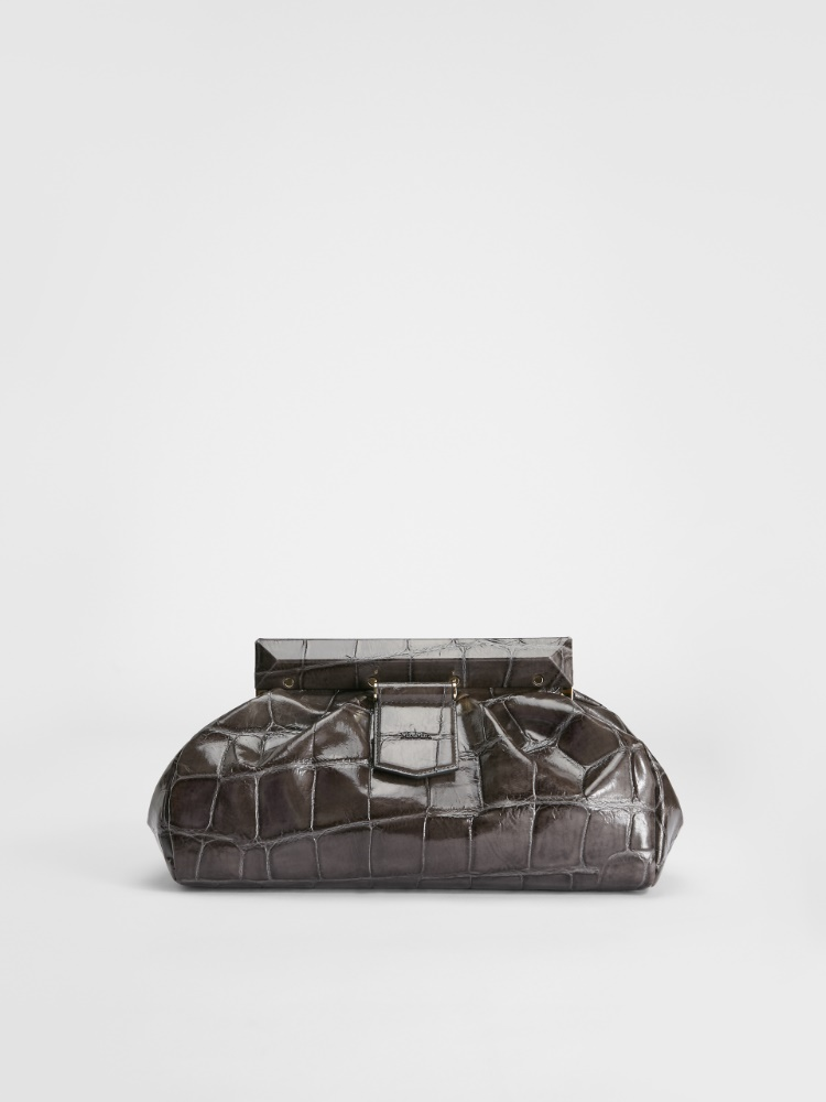 Crocodile-print leather clutch bag