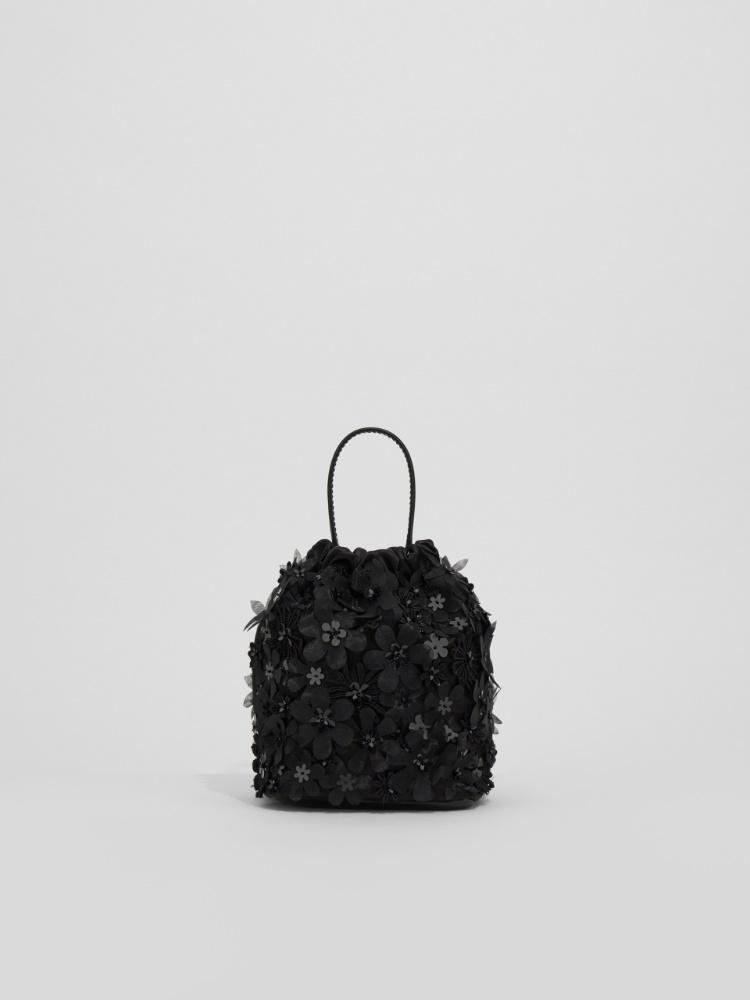 Embroidered satin bucket bag