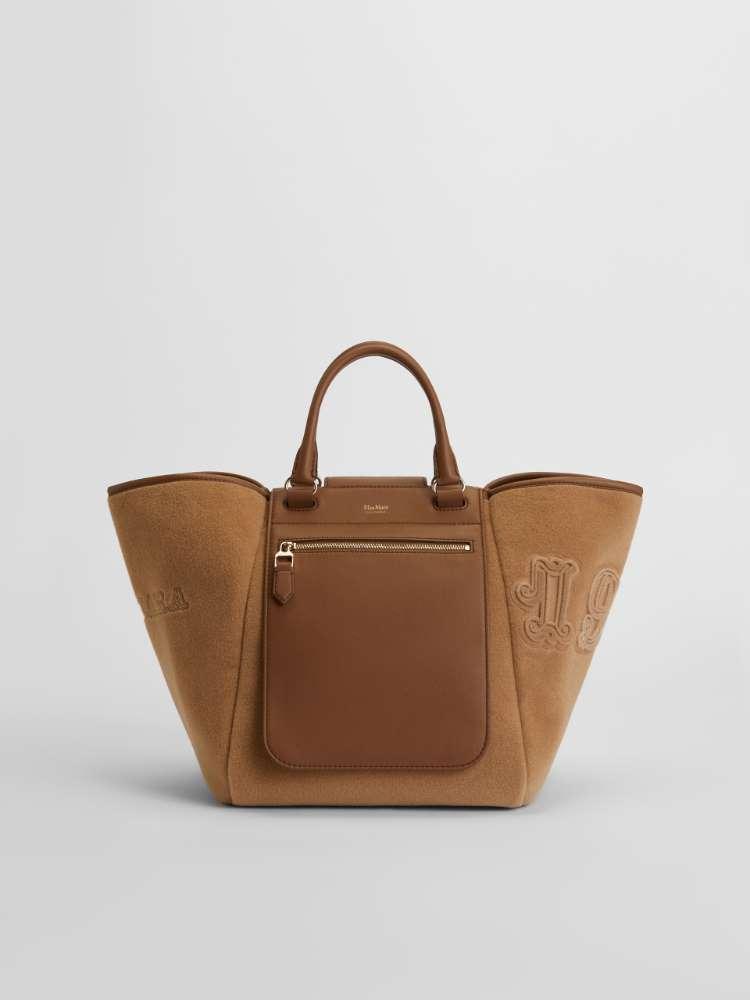 Nappa leather and fabric bag
