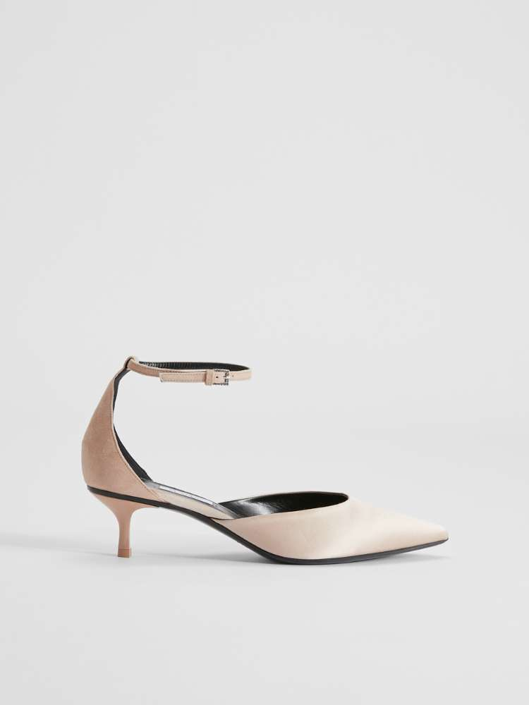 Satin and suede sandals