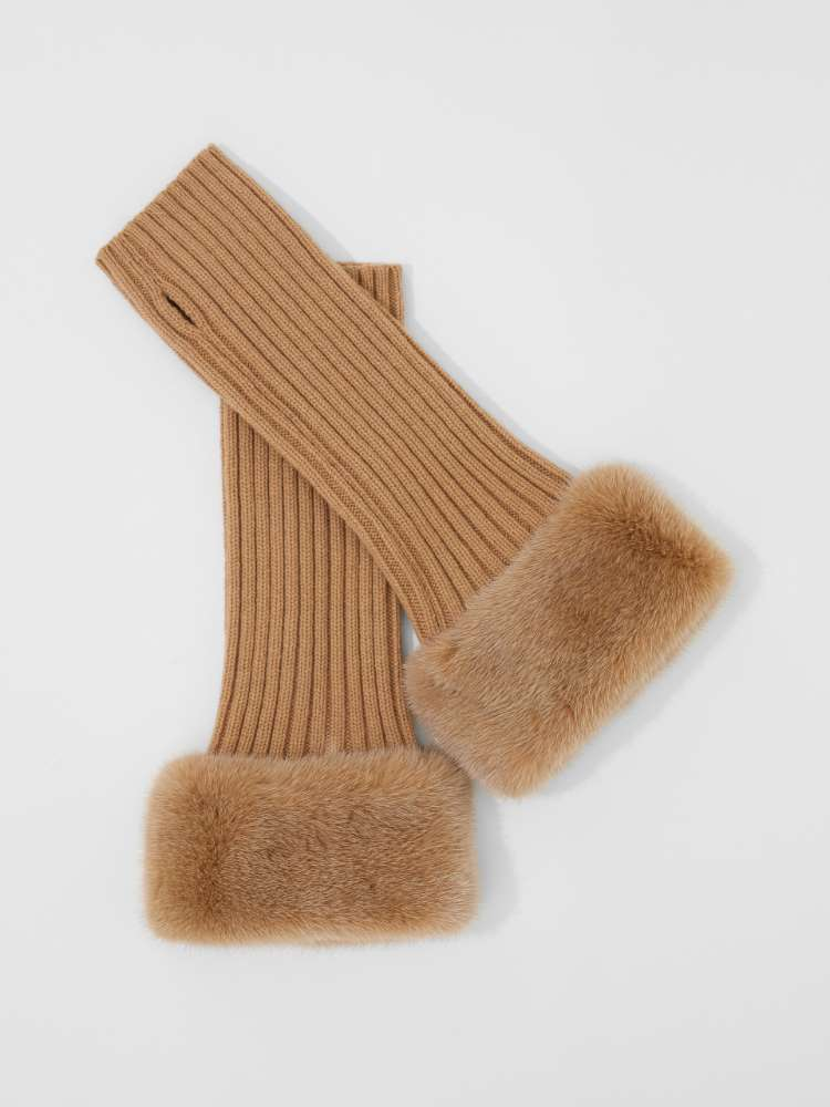 Cashmere and mink arm warmers