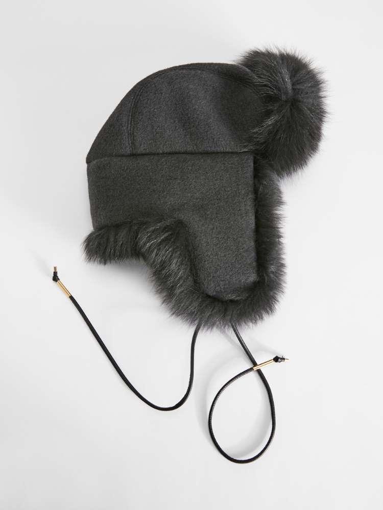 Wool and fox aviator hat