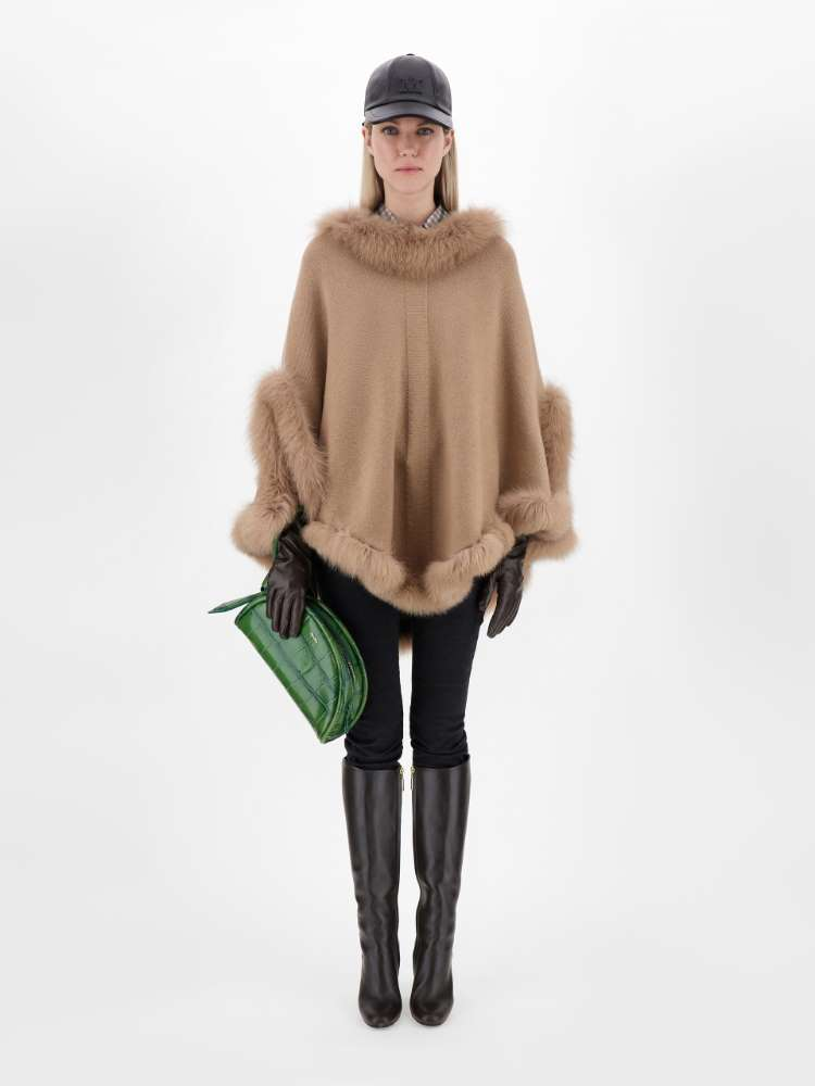 Cashmere and fox fur poncho