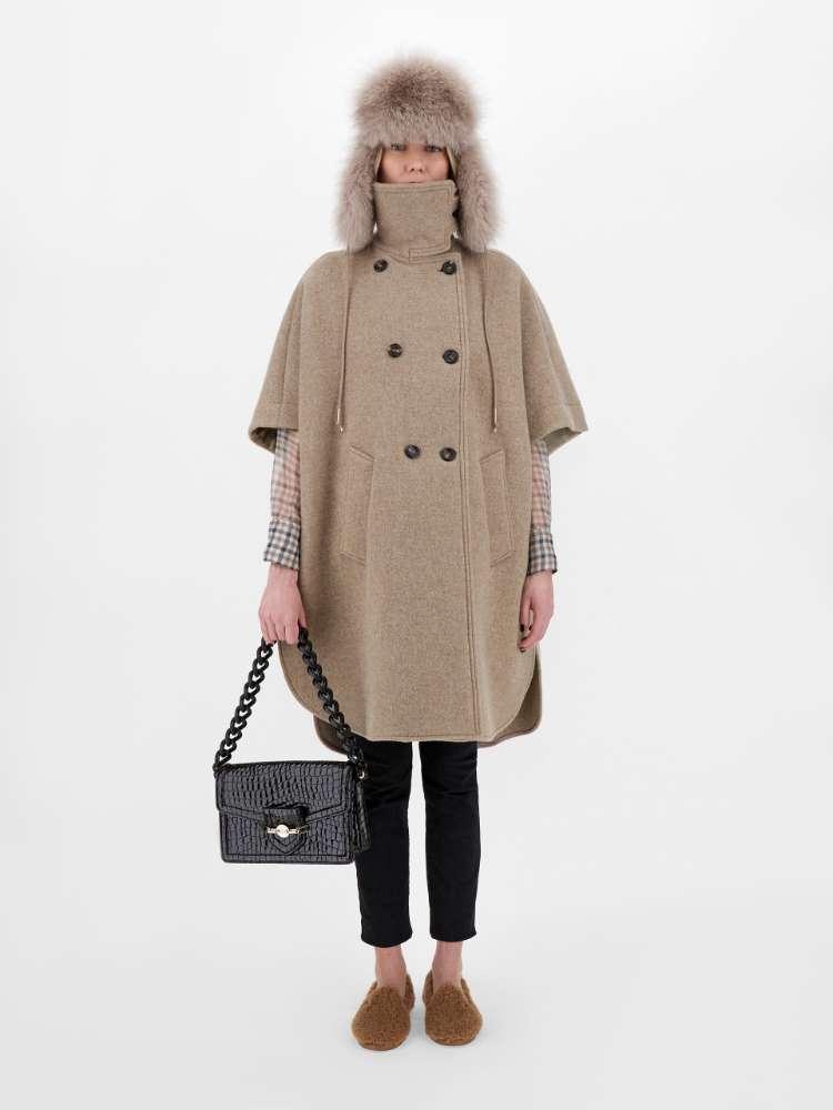 Wool velour cape
