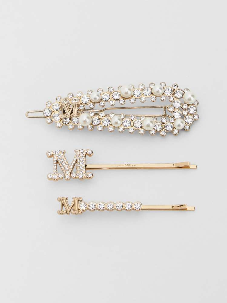Set of hair clips with pearls and rhinestones