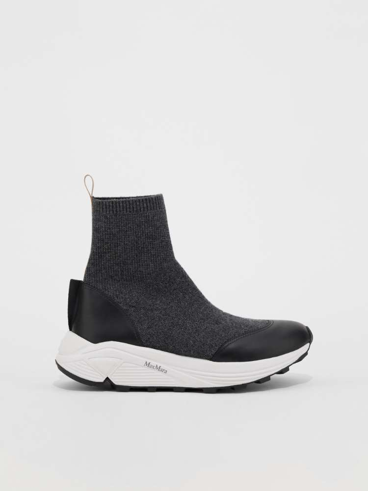 Wool and cashmere knitted trainers