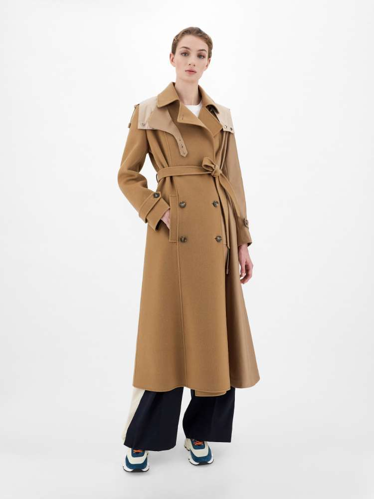Water-repellent wool and twill trench coat