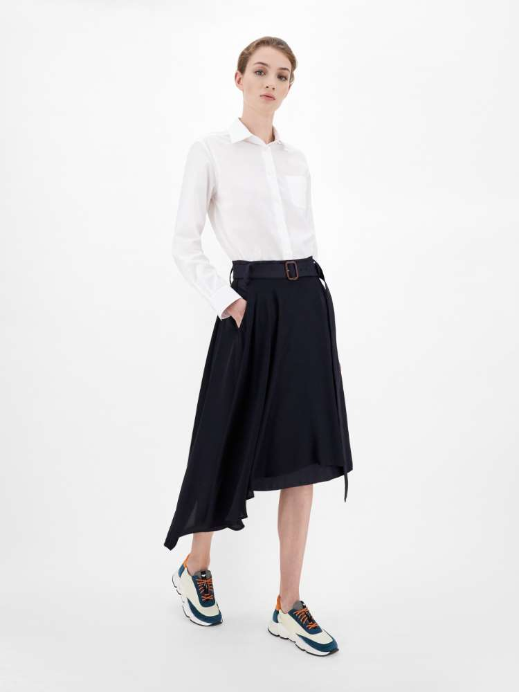 Cotton twill and cady skirt