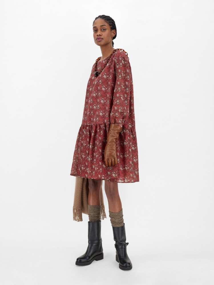 Wool-blend gauze dress