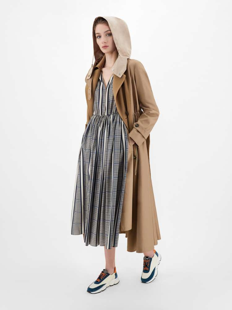 Technical twill and cotton dress