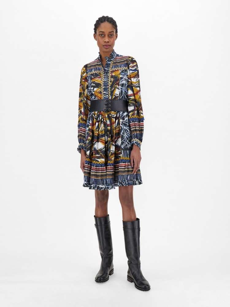 Silk and viscose jacquard dress