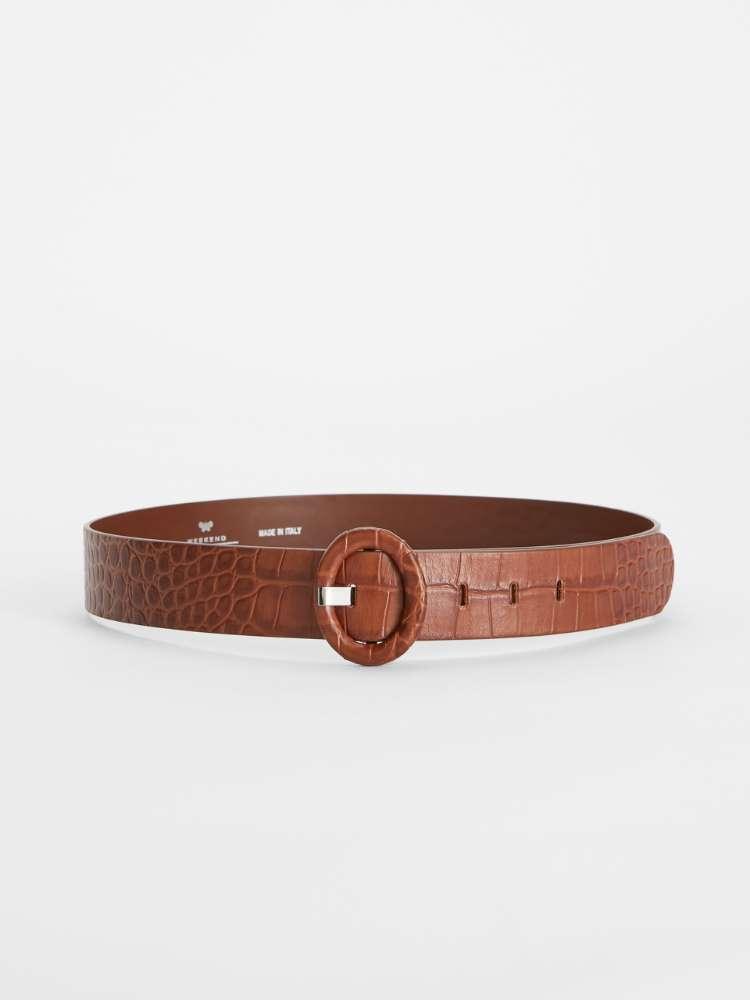 Crocodile print leather belt