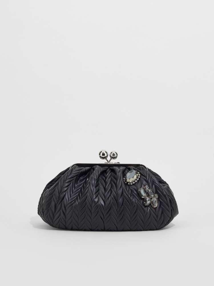 Medium pleated fabric Pasticcino Bag with rhinestones