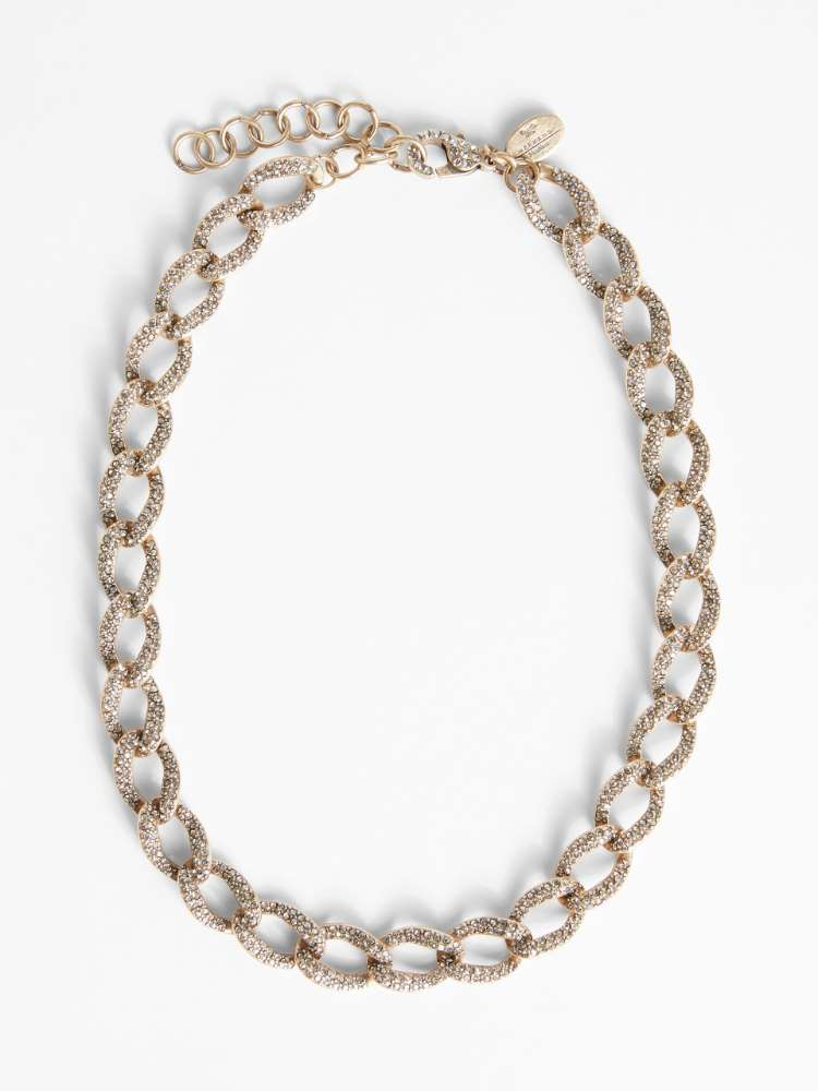 Glass and rhinestone chain necklace