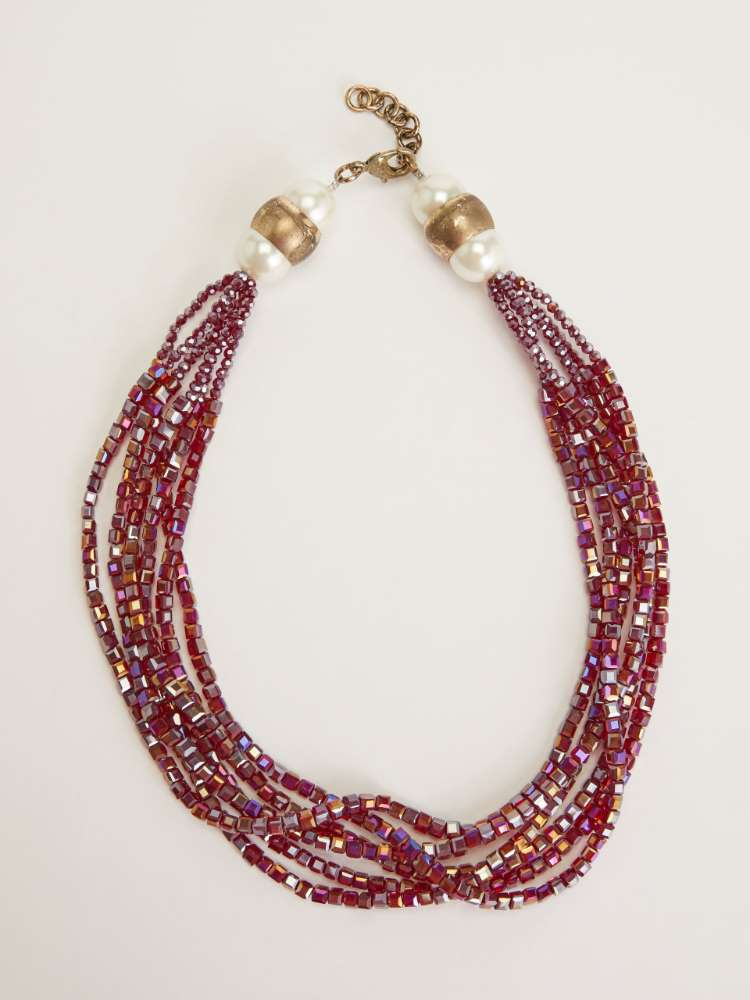 Multi-strand necklace with stones and rhinestones