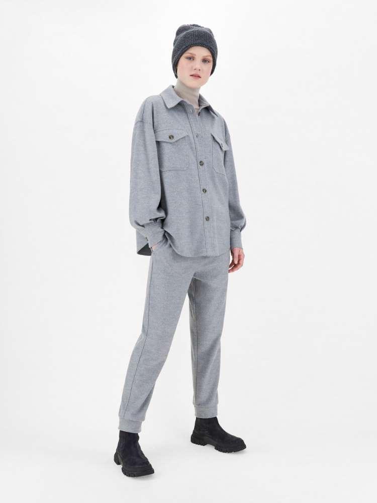 Pantalon en jersey de laine mélangée