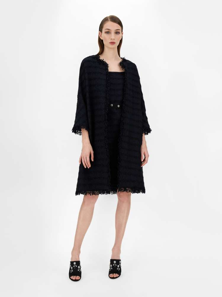 Cotton and wool basketweave duster coat