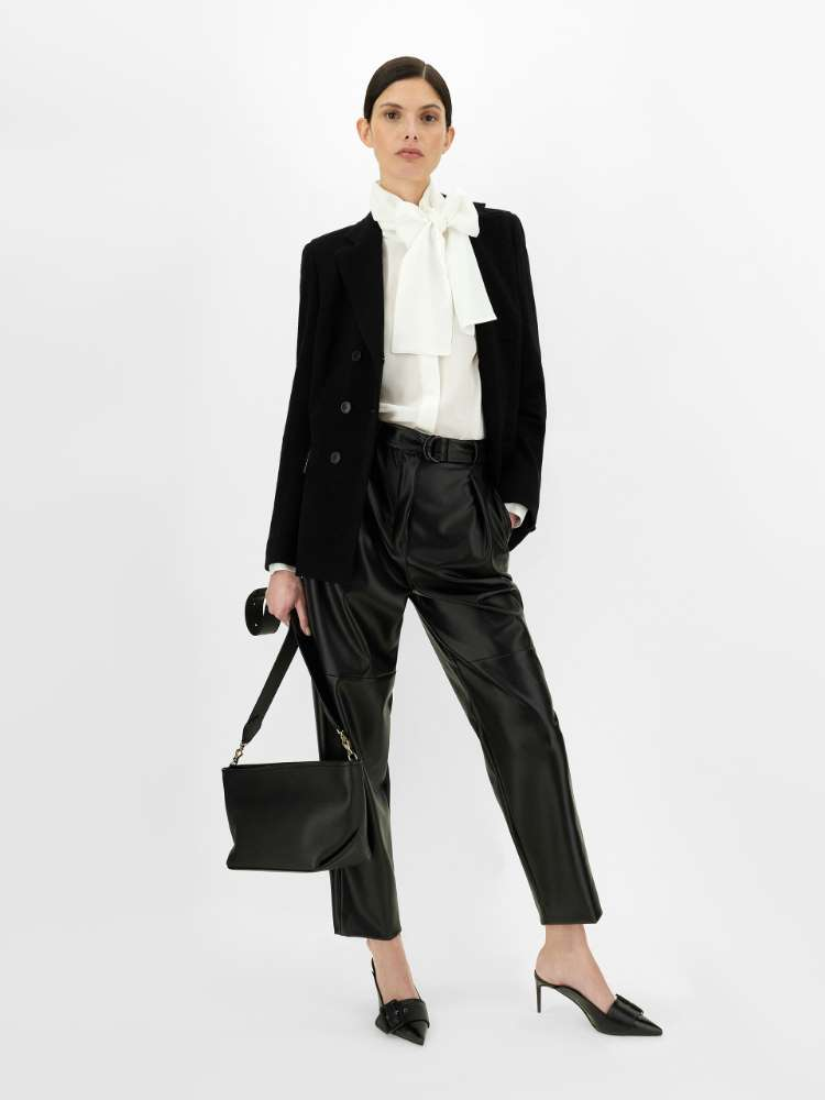 Leather-look fabric trousers