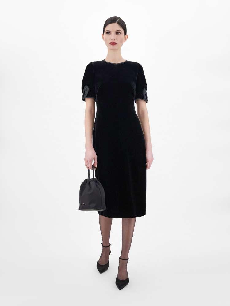 Viscose velvet and silk dress