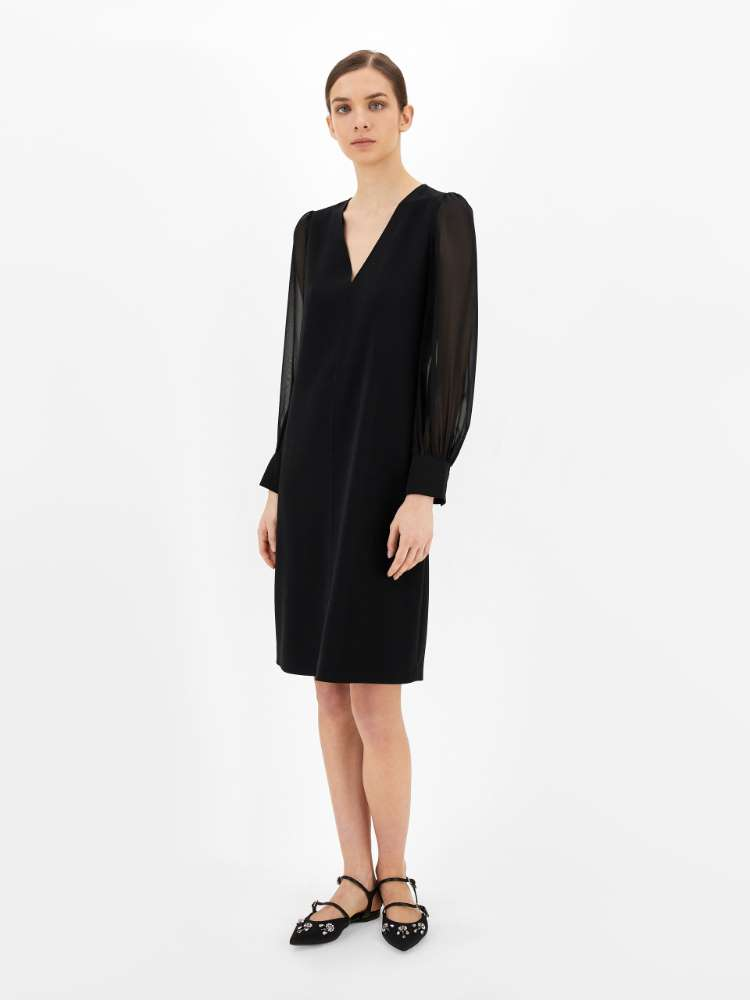 Cady and silk georgette dress
